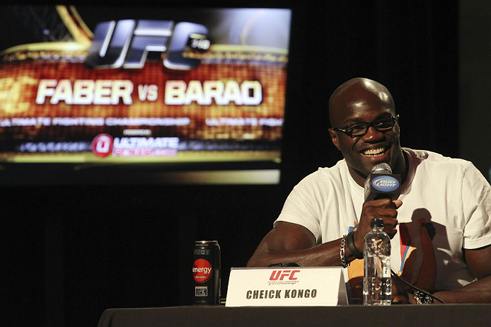CALGARY, CANADA - JULY 19: Cheick Kongo attends the UFC 149 press conference at the Flames Central Sports Club on July 19, 2012 in Calgary, Alberta, Canada. (Photo by Jeff Bottari/Zuffa LLC/Zuffa LLC via Getty Images)