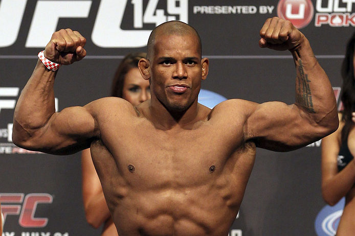CALGARY, CANADA - JULY 20:  Hector Lombard makes weight at the UFC 149 weigh-in at the Scotiabank Saddledome on July 20, 2012 in Calgary, Alberta, Canada.  (Photo by Jeff Bottari/Zuffa LLC/Zuffa LLC via Getty Images)