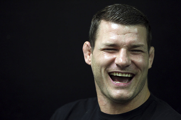 CALGARY, CANADA - JULY 20:  Michael Bisping speaks with the media prior to the UFC 149 weigh-in at the Scotiabank Saddledome on July 20, 2012 in Calgary, Alberta, Canada.  (Photo by Jeff Bottari/Zuffa LLC/Zuffa LLC via Getty Images)
