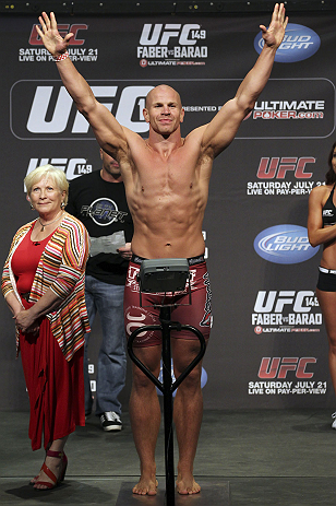 CALGARY, CANADA - JULY 20: Ryan Jimmo makes weight at the UFC 149 weigh-in at the Scotiabank Saddledome on July 20, 2012 in Calgary, Alberta, Canada.  (Photo by Jeff Bottari/Zuffa LLC/Zuffa LLC via Getty Images)
