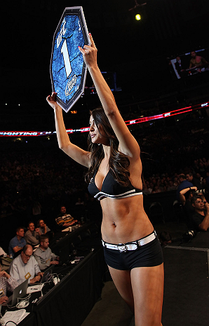 DENVER, CO - AUGUST 11:  UFC Octagon Girl Arianny Celeste introduces a round during UFC 150 inside Pepsi Center on August 11, 2012 in Denver, Colorado. (Photo by Nick Laham/Zuffa LLC/Zuffa LLC via Getty Images)