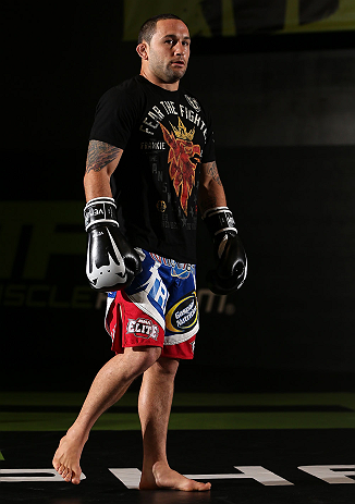 DENVER, CO - AUGUST 08:  Frankie Edgar works out for the media during the UFC 150 open workouts at the Muscle Pharm Sports Science Center on August 8, 2012 in Denver, Colorado. (Photo by Josh Hedges/Zuffa LLC/Zuffa LLC via Getty Images)