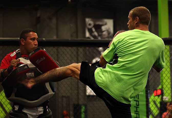 DENVER, CO - AUGUST 08:  Donald &quot;Cowboy&quot; Cerrone works out for the media during the UFC 150 open workouts at the Muscle Pharm Sports Science Center on August 8, 2012 in Denver, Colorado. (Photo by Josh Hedges/Zuffa LLC/Zuffa LLC via Getty Images)