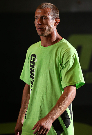 "DENVER, CO - AUGUST 08:  Donald ""Cowboy"" Cerrone works out for the media during the UFC 150 open workouts at the Muscle Pharm Sports Science Center on August 8, 2012 in Denver, Colorado. (Photo by Josh Hedges/Zuffa LLC/Zuffa LLC via Getty Images)"