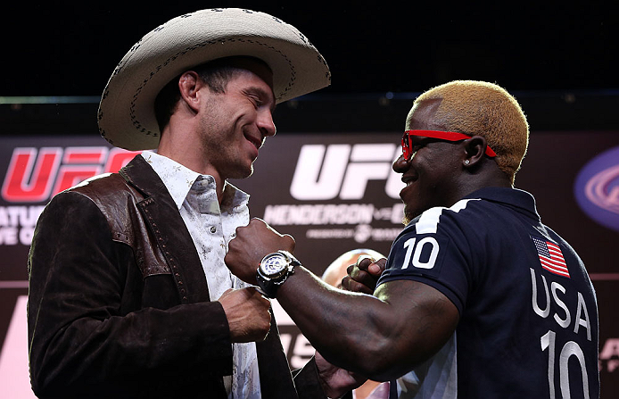 "DENVER, CO - AUGUST 09:  (L-R) Opponents Donald ""Cowboy"" Cerrone and Melvin Guillard face off during the UFC 150 press conference at the Fillmore Auditorium on August 9, 2012 in Denver, Colorado. (Photo by Josh Hedges/Zuffa LLC/Zuffa LLC via Getty Images)"