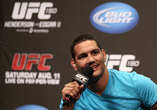 DENVER, CO - AUGUST 10:  Chris Weidman interacts with fans during a Q&amp;A session before the UFC 150 weigh in at Pepsi Center on August 10, 2012 in Denver, Colorado. (Photo by Josh Hedges/Zuffa LLC/Zuffa LLC via Getty Images)