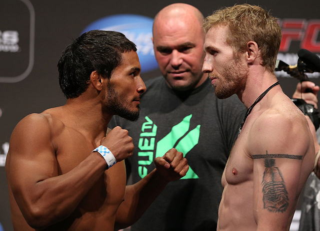 DENVER, CO - AUGUST 10:  (L-R) Opponents Dennis Bermudez and Tom Hayden during the UFC 150 weigh in at Pepsi Center on August 10, 2012 in Denver, Colorado. (Photo by Josh Hedges/Zuffa LLC/Zuffa LLC via Getty Images)