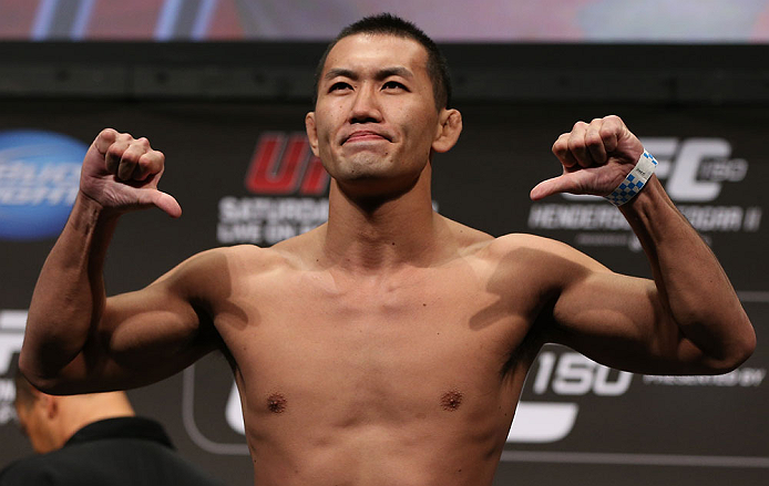 DENVER, CO - AUGUST 10:  Yushin Okami makes weight during the UFC 150 weigh in at Pepsi Center on August 10, 2012 in Denver, Colorado. (Photo by Josh Hedges/Zuffa LLC/Zuffa LLC via Getty Images)