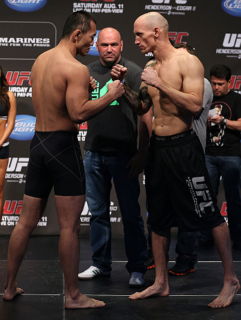 DENVER, CO - AUGUST 10:  (L-R) Opponents Yushin Okami and Buddy Roberts face off during the UFC 150 weigh in at Pepsi Center on August 10, 2012 in Denver, Colorado. (Photo by Josh Hedges/Zuffa LLC/Zuffa LLC via Getty Images)