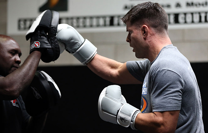 TORONTO, CANADA - SEPTEMBER 19:  Brian Stann works out for fans and media during the UFC 152 open workouts at Xtreme Couture Gym on September 19, 2012 in Toronto, Ontario, Canada.  (Photo by Josh Hedges/Zuffa LLC/Zuffa LLC via Getty Images)