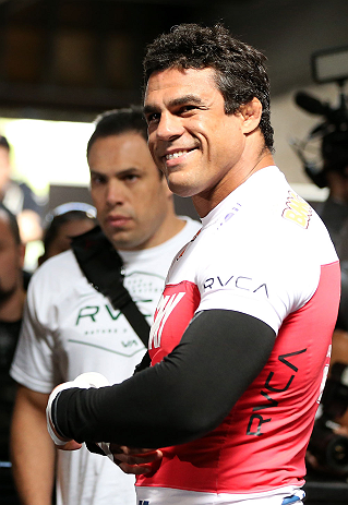 TORONTO, CANADA - SEPTEMBER 19:  Vitor Belfort works out for fans and media during the UFC 152 open workouts at Xtreme Couture Gym on September 19, 2012 in Toronto, Ontario, Canada.  (Photo by Josh Hedges/Zuffa LLC/Zuffa LLC via Getty Images)