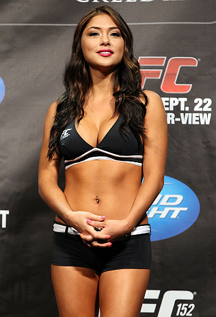TORONTO, CANADA - SEPTEMBER 21: UFC Octagon Girl Arianny Celeste stands on stage during the UFC 152 weigh in at Mattamy Athletic Centre at the Gardens on September 21, 2012 in Toronto, Ontario, Canada. (Photo by Mike Roach/Zuffa LLC/Zuffa LLC via Getty Images)