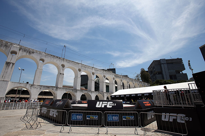 RIO DE JANEIRO, BRAZIL - OCTOBER 10:  A general view of the venue before the UFC 153 open workouts at Arcos da Lapa: Praca Cardeal Camara on October 10, 2012 in Rio de Janeiro, Brazil.  (Photo by Josh Hedges/Zuffa LLC/Zuffa LLC via Getty Images)