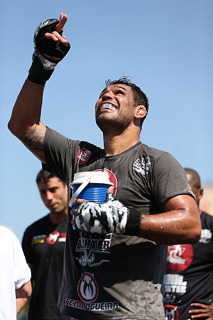 "RIO DE JANEIRO, BRAZIL - OCTOBER 10:  Antonio Rodrigo ""Minotauro"" Nogeuira works out for fans and media during an open training session ahead of UFC 153 at Arcos da Lapa: Praca Cardeal Camara on October 10, 2012 in Rio de Janeiro, Brazil.  (Photo by Josh Hedges/Zuffa LLC/Zuffa LLC via Getty Images)"