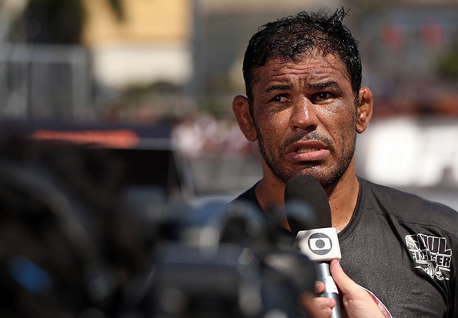 RIO DE JANEIRO, BRAZIL - OCTOBER 10: Minotauro Nogeuira is interviewed after an open training session ahead of UFC 153 at Arcos da Lapa: Praca Cardeal Camara on October 10, 2012 in Rio de Janeiro, Brazil.  (Photo by Josh Hedges/Zuffa LLC/Zuffa LLC via Getty Images)