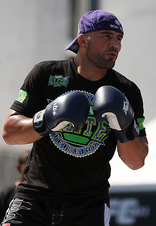 RIO DE JANEIRO, BRAZIL - OCTOBER 10:  Glover Teixeira works out for fans and media during an open training session ahead of UFC 153 at Arcos da Lapa: Praca Cardeal Camara on October 10, 2012 in Rio de Janeiro, Brazil.  (Photo by Josh Hedges/Zuffa LLC/Zuffa LLC via Getty Images)