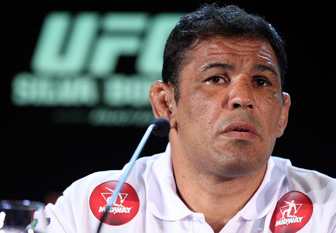 RIO DE JANEIRO, BRAZIL - OCTOBER 11:  Minotauro Nogueira interacts with media during a press conference ahead of UFC 153 at Windsor Barra Hotel on October 11, 2012 in Rio de Janeiro, Brazil.  (Photo by Josh Hedges/Zuffa LLC/Zuffa LLC via Getty Images)