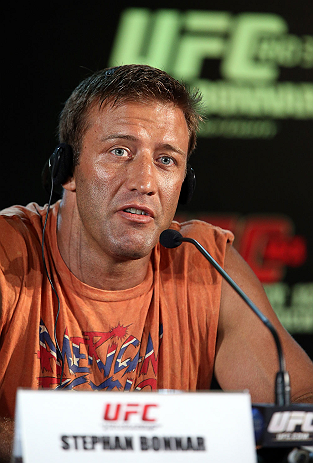 RIO DE JANEIRO, BRAZIL - OCTOBER 11:  Stephan Bonnar interacts with media during a press conference ahead of UFC 153 at Windsor Barra Hotel on October 11, 2012 in Rio de Janeiro, Brazil.  (Photo by Josh Hedges/Zuffa LLC/Zuffa LLC via Getty Images)