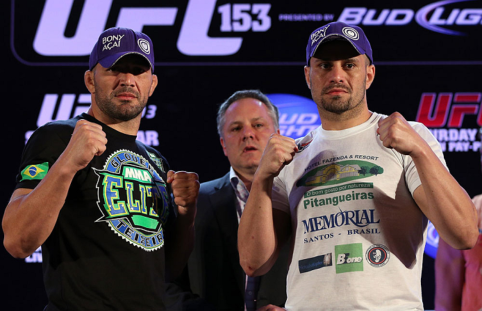 RIO DE JANEIRO, BRAZIL - OCTOBER 11:  (L-R) Opponents Glover Teixeira and Fabio Maldonado pose for photos during a press conference ahead of UFC 153 at Windsor Barra Hotel on October 11, 2012 in Rio de Janeiro, Brazil.  (Photo by Josh Hedges/Zuffa LLC/Zuffa LLC via Getty Images)