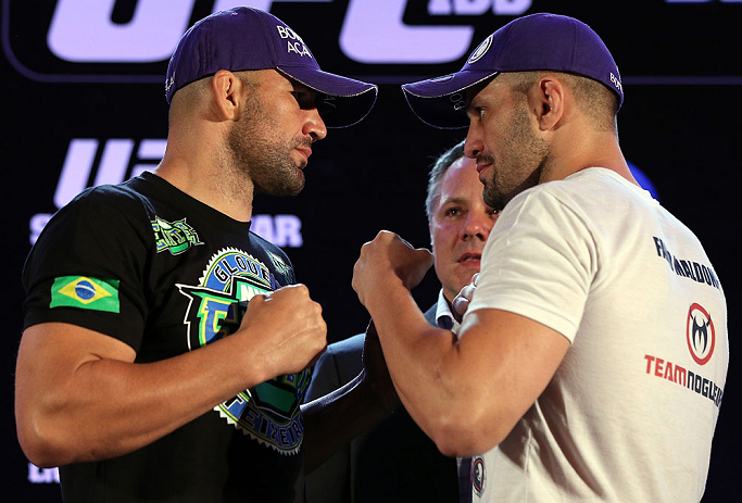 RIO DE JANEIRO, BRAZIL - OCTOBER 11:  (L-R) Opponents Glover Teixeira and Fabio Maldonado face off during a press conference ahead of UFC 153 at Windsor Barra Hotel on October 11, 2012 in Rio de Janeiro, Brazil.  (Photo by Josh Hedges/Zuffa LLC/Zuffa LLC via Getty Images)