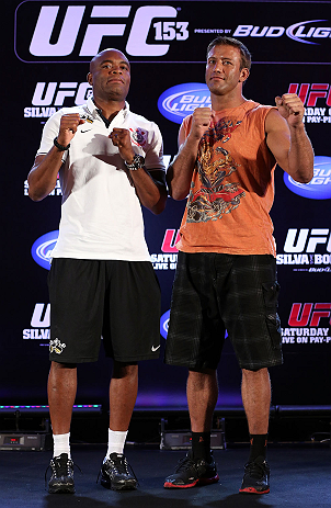 RIO DE JANEIRO, BRAZIL - OCTOBER 11:  (L-R) Opponents Anderson Silva and Stephan Bonnar pose for photos during a press conference ahead of UFC 153 at Windsor Barra Hotel on October 11, 2012 in Rio de Janeiro, Brazil.  (Photo by Josh Hedges/Zuffa LLC/Zuffa LLC via Getty Images)