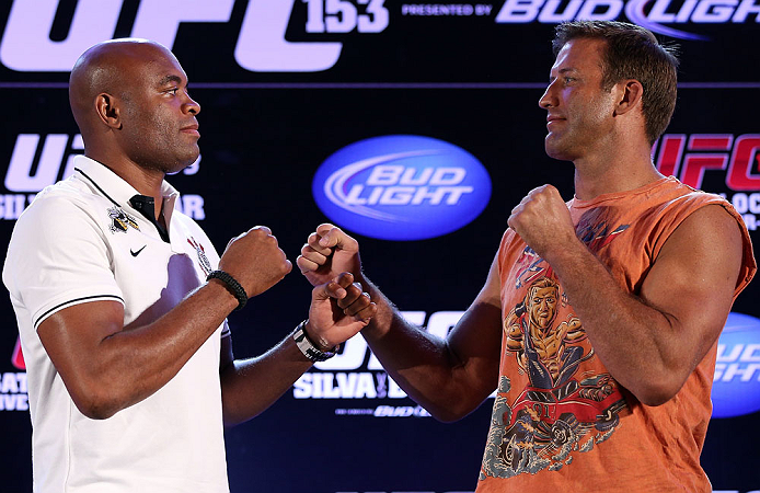 RIO DE JANEIRO, BRAZIL - OCTOBER 11:  (L-R) Opponents Anderson Silva and Stephan Bonnar face off during a press conference ahead of UFC 153 at Windsor Barra Hotel on October 11, 2012 in Rio de Janeiro, Brazil.  (Photo by Josh Hedges/Zuffa LLC/Zuffa LLC via Getty Images)