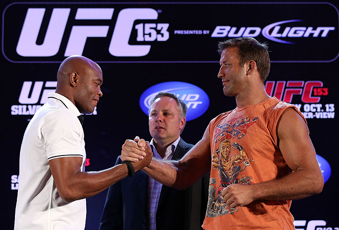 RIO DE JANEIRO, BRAZIL - OCTOBER 11:  (L-R) Opponents Anderson Silva and Stephan Bonnar shake hands during a press conference ahead of UFC 153 at Windsor Barra Hotel on October 11, 2012 in Rio de Janeiro, Brazil.  (Photo by Josh Hedges/Zuffa LLC/Zuffa LLC via Getty Images)