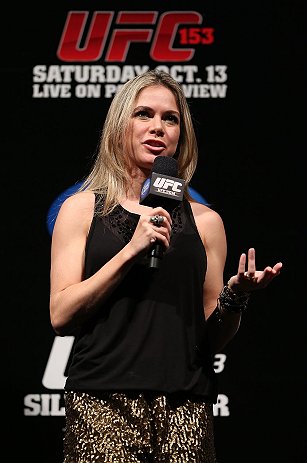 RIO DE JANEIRO, BRAZIL - OCTOBER 12:  UFC reporter Paula Sack hosts a Q&A session with fighters Lyoto Machida and Jose Aldo before the UFC 153 weigh in at HSBC Arena on October 12, 2012 in Rio de Janeiro, Brazil.  (Photo by Josh Hedges/Zuffa LLC/Zuffa LLC via Getty Images)