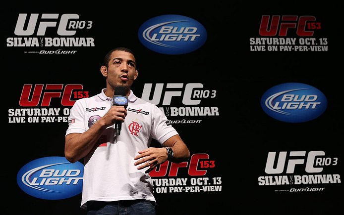 RIO DE JANEIRO, BRAZIL - OCTOBER 12:  Jose Aldo interacts with fans during a Q&A session before the UFC 153 weigh in at HSBC Arena on October 12, 2012 in Rio de Janeiro, Brazil.  (Photo by Josh Hedges/Zuffa LLC/Zuffa LLC via Getty Images)