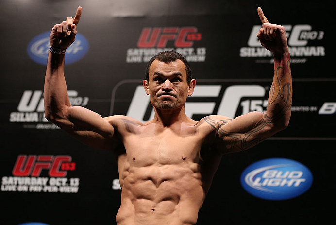 RIO DE JANEIRO, BRAZIL - OCTOBER 12:  Gleison Tibau weighs in during the UFC 153 weigh in at HSBC Arena on October 12, 2012 in Rio de Janeiro, Brazil.  (Photo by Josh Hedges/Zuffa LLC/Zuffa LLC via Getty Images)