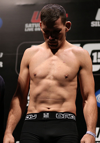 RIO DE JANEIRO, BRAZIL - OCTOBER 12:  Demian Maia weighs in during the UFC 153 weigh in at HSBC Arena on October 12, 2012 in Rio de Janeiro, Brazil.  (Photo by Josh Hedges/Zuffa LLC/Zuffa LLC via Getty Images)