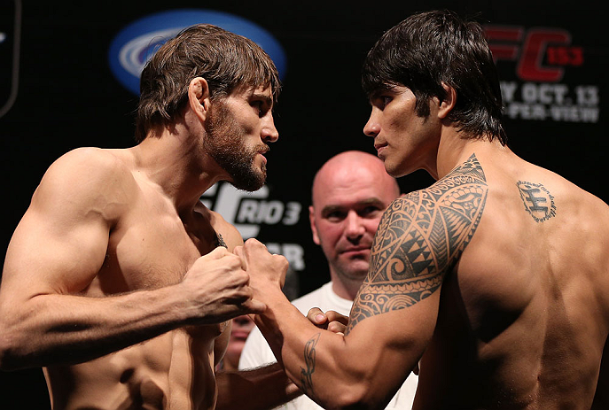 RIO DE JANEIRO, BRAZIL - OCTOBER 12:  (L-R) Opponents Jon Fitch and Erick Silva face off during the UFC 153 weigh in at HSBC Arena on October 12, 2012 in Rio de Janeiro, Brazil.  (Photo by Josh Hedges/Zuffa LLC/Zuffa LLC via Getty Images)