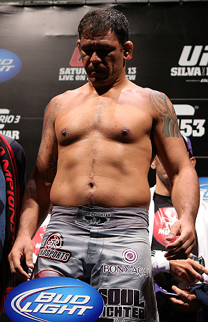 "RIO DE JANEIRO, BRAZIL - OCTOBER 12:  Antonio Rodrigo ""Minotauro"" Nogueira weighs in during the UFC 153 weigh in at HSBC Arena on October 12, 2012 in Rio de Janeiro, Brazil.  (Photo by Josh Hedges/Zuffa LLC/Zuffa LLC via Getty Images)"