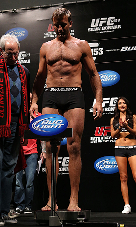 RIO DE JANEIRO, BRAZIL - OCTOBER 12:  Stephan Bonnar weighs in during the UFC 153 weigh in at HSBC Arena on October 12, 2012 in Rio de Janeiro, Brazil.  (Photo by Josh Hedges/Zuffa LLC/Zuffa LLC via Getty Images)