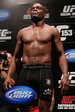 RIO DE JANEIRO, BRAZIL - OCTOBER 12:  Anderson Silva weighs in during the UFC 153 weigh in at HSBC Arena on October 12, 2012 in Rio de Janeiro, Brazil.  (Photo by Josh Hedges/Zuffa LLC/Zuffa LLC via Getty Images)