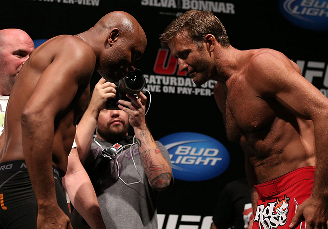 RIO DE JANEIRO, BRAZIL - OCTOBER 12:  (L-R) Opponents Anderson Silva and Stephan Bonnar bow to one another during the UFC 153 weigh in at HSBC Arena on October 12, 2012 in Rio de Janeiro, Brazil.  (Photo by Josh Hedges/Zuffa LLC/Zuffa LLC via Getty Images)
