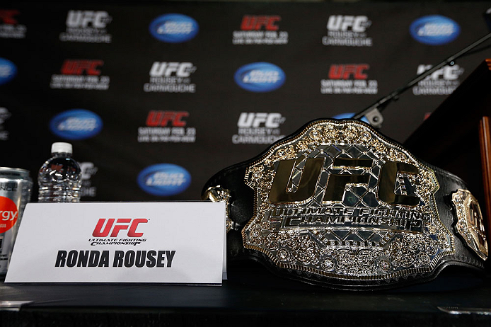 ANAHEIM, CA - FEBRUARY 21:  Ronda Rousey's UFC bantamweight championship belt is seen on a table before a UFC pre-fight press conference at Honda Center on February 21, 2013 in Anaheim, California.  (Photo by Josh Hedges/Zuffa LLC/Zuffa LLC via Getty Images)