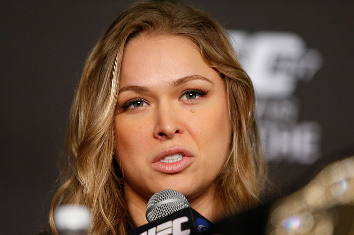 ANAHEIM, CA - FEBRUARY 21:  Ronda Rousey interacts with media during a UFC pre-fight press conference at Honda Center on February 21, 2013 in Anaheim, California.  (Photo by Josh Hedges/Zuffa LLC/Zuffa LLC via Getty Images)