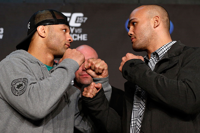 ANAHEIM, CA - FEBRUARY 21:  (L-R) Opponents Josh Koscheck and Robbie Lawler face off during a UFC pre-fight press conference at Honda Center on February 21, 2013 in Anaheim, California.  (Photo by Josh Hedges/Zuffa LLC/Zuffa LLC via Getty Images)