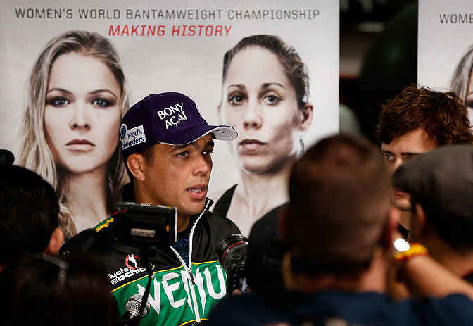 TORRANCE, CA - FEBRUARY 20:  Lyoto Machida interacts with media after an open training session at the UFC Gym on February 20, 2013 in Torrance, California.  (Photo by Josh Hedges/Zuffa LLC/Zuffa LLC via Getty Images)
