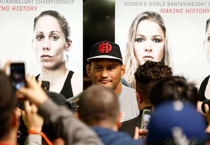 TORRANCE, CA - FEBRUARY 20:  Dan Henderson interacts with media at the UFC Gym on February 20, 2013 in Torrance, California.  (Photo by Josh Hedges/Zuffa LLC/Zuffa LLC via Getty Images)