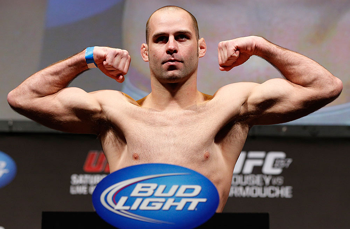 ANAHEIM, CA - FEBRUARY 22:  Kenny Robertson weighs in during the UFC 157 weigh-in at Honda Center on February 22, 2013 in Anaheim, California.  (Photo by Josh Hedges/Zuffa LLC/Zuffa LLC via Getty Images)