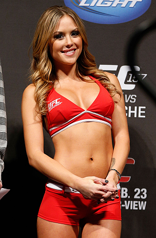 ANAHEIM, CA - FEBRUARY 22:  UFC Octagon Girl Brittney Palmer stands on stage during the UFC 157 weigh-in at Honda Center on February 22, 2013 in Anaheim, California.  (Photo by Josh Hedges/Zuffa LLC/Zuffa LLC via Getty Images)