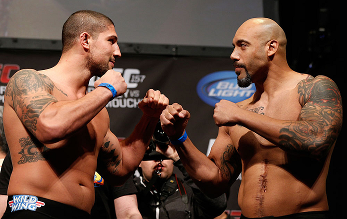 ANAHEIM, CA - FEBRUARY 22:  (L-R) Opponents Brendan Schaub and Lavar Johnson face off during the UFC 157 weigh-in at Honda Center on February 22, 2013 in Anaheim, California.  (Photo by Josh Hedges/Zuffa LLC/Zuffa LLC via Getty Images)