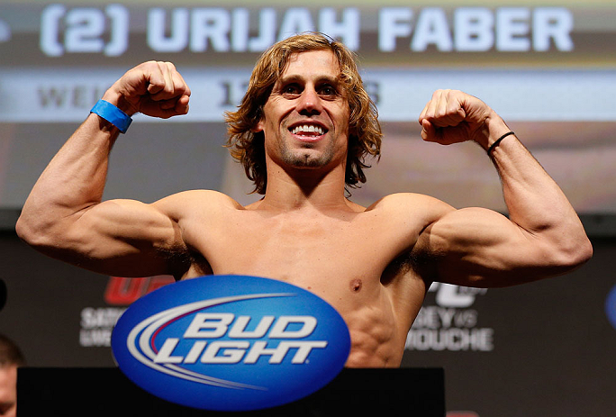 ANAHEIM, CA - FEBRUARY 22:  Urijah Faber weighs in during the UFC 157 weigh-in at Honda Center on February 22, 2013 in Anaheim, California.  (Photo by Josh Hedges/Zuffa LLC/Zuffa LLC via Getty Images)
