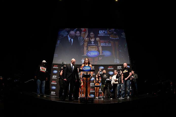 ANAHEIM, CA - FEBRUARY 22:  Liz Carmouche weighs in during the UFC 157 weigh-in at Honda Center on February 22, 2013 in Anaheim, California.  (Photo by Josh Hedges/Zuffa LLC/Zuffa LLC via Getty Images)