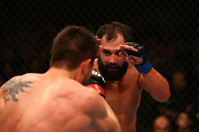 MONTREAL, QC - MARCH 16:  (R-L) Johny Hendricks squares off with Carlos Condit in their welterweight bout during the UFC 158 event at Bell Centre on March 16, 2013 in Montreal, Quebec, Canada.  (Photo by Jonathan Ferrey/Zuffa LLC/Zuffa LLC via Getty Images)