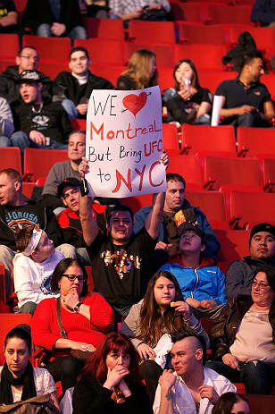 MONTREAL, QC - MARCH 16: A fan holds up a sign during the UFC 158 event at Bell Centre on March 16, 2013 in Montreal, Quebec, Canada.  (Photo by Josh Hedges/Zuffa LLC/Zuffa LLC via Getty Images)