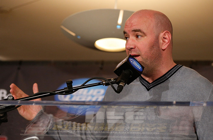 MONTREAL, QC - MARCH 14:  UFC President Dana White interacts with media during the final press conference ahead of his UFC 158 bout at Bell Centre on March 14, 2013 in Montreal, Quebec, Canada.  (Photo by Josh Hedges/Zuffa LLC/Zuffa LLC via Getty Images)