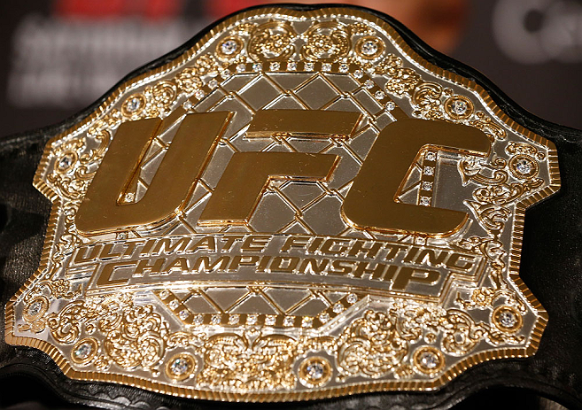 MONTREAL, QC - MARCH 14:  A general view of the UFC welterweight championship belt at the UFC 158 press conference at Bell Centre on March 14, 2013 in Montreal, Quebec, Canada.  (Photo by Josh Hedges/Zuffa LLC/Zuffa LLC via Getty Images)